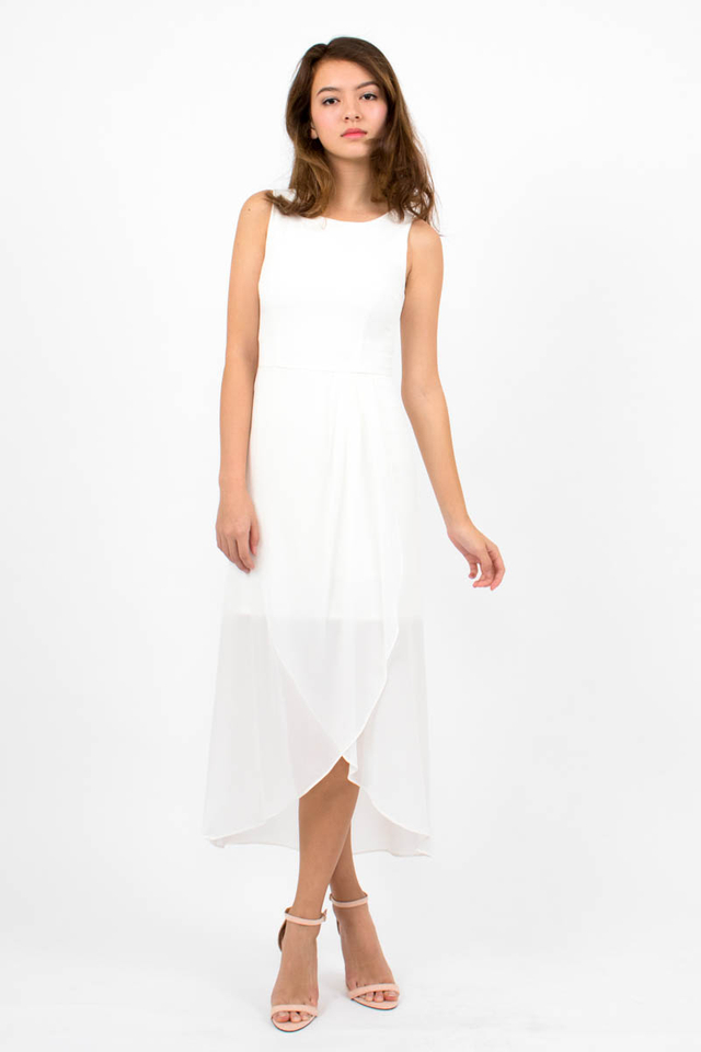 Giselle Chiffon Overlap Midi Dress - White