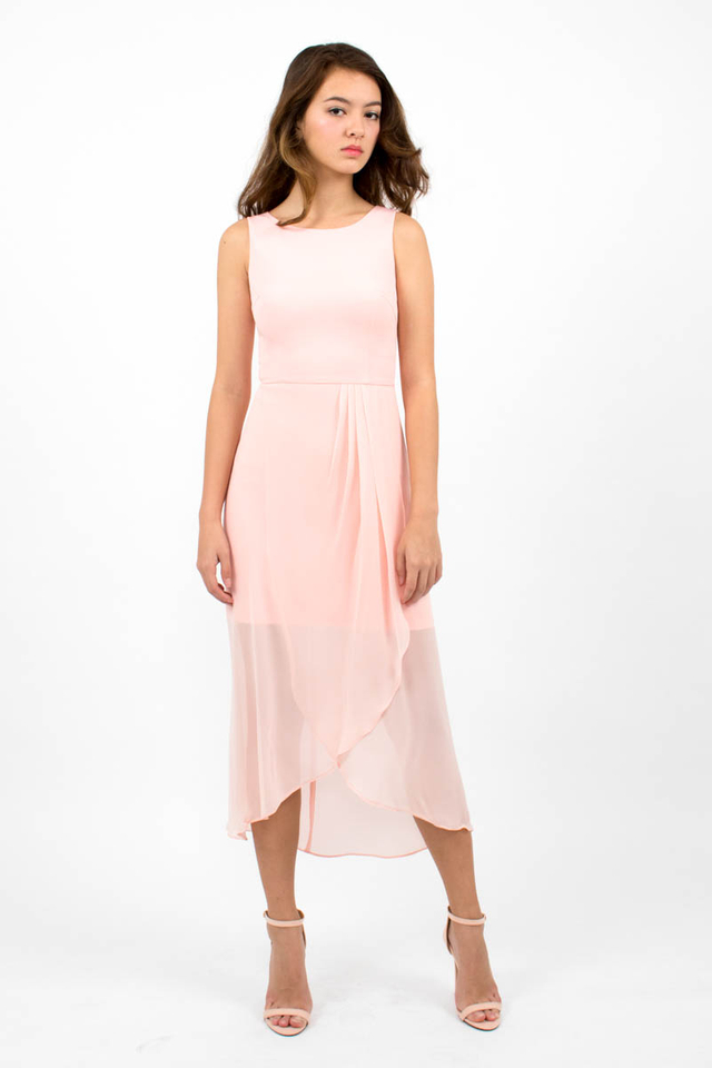 Giselle Chiffon Overlap Midi Dress - Blush Pink