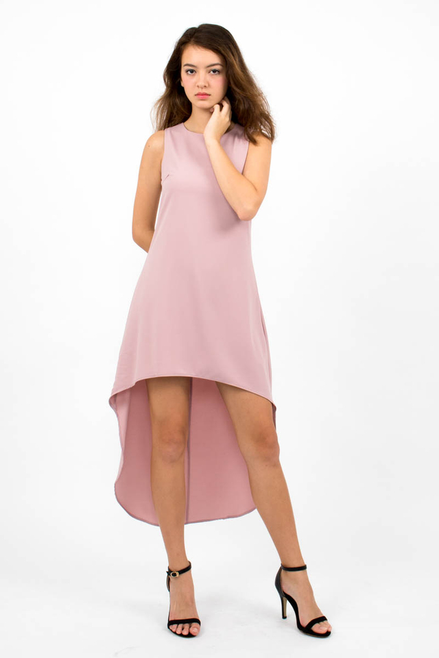 Miuccia Assymmetrical Runway Dress - Dusty Pink