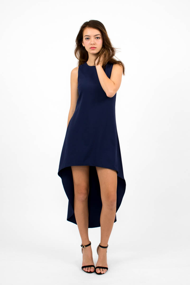 Miuccia Assymmetrical Runway Dress - Navy Blue
