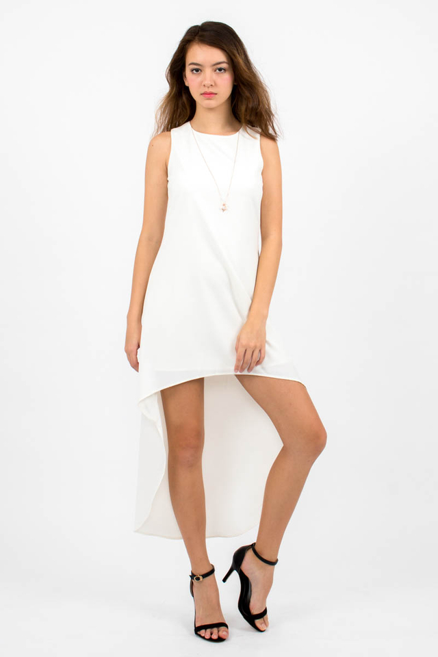 Miuccia Assymmetrical Runway Dress - White