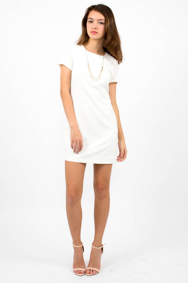 Loulou Classic Shift Dress - White