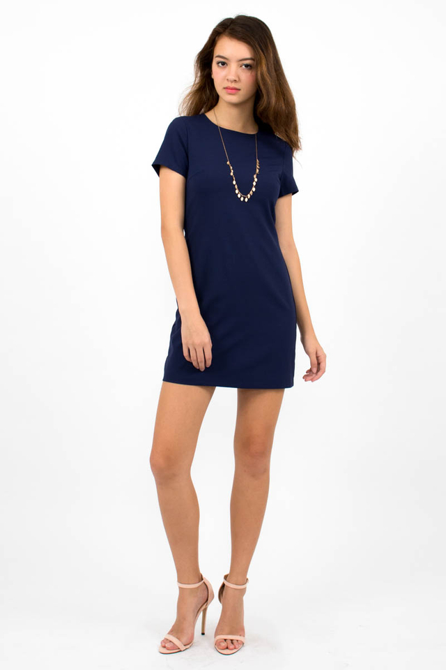 Loulou Classic Shift Dress - Navy Blue