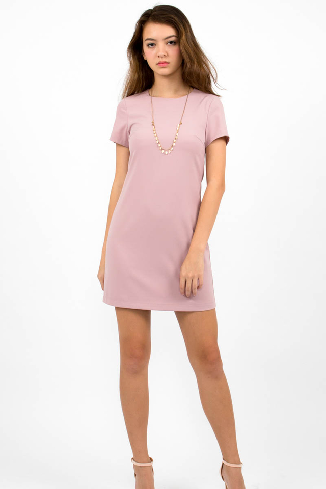 Loulou Classic Shift Dress - Dusty Pink