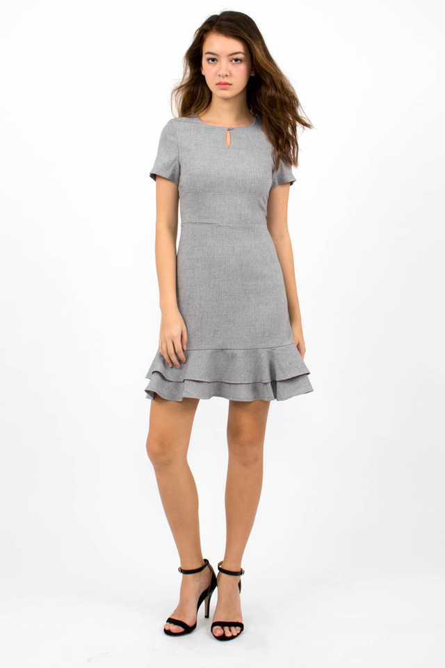 Sienna Flounce Windowpane Dress - Light Grey