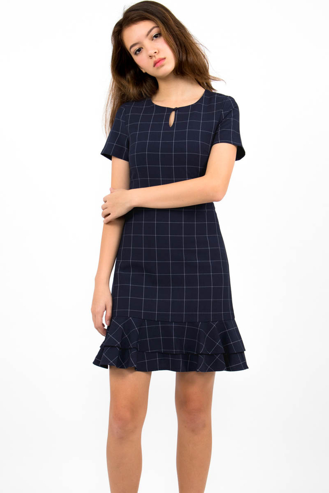 Sienna Flounce Windowpane Dress - Navy Checks