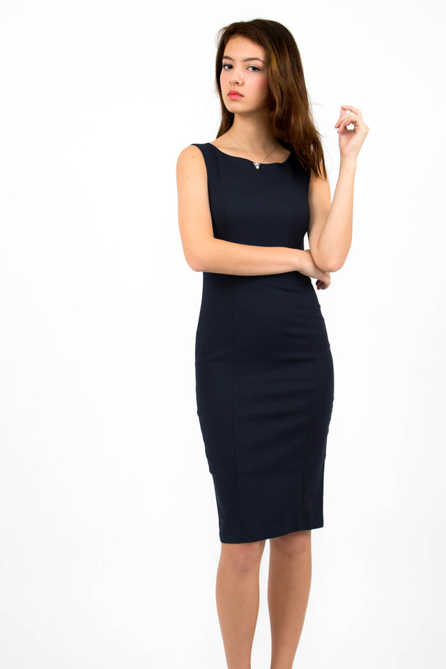 Audrey Classic Boat Neck Midi Dress - Navy Blue