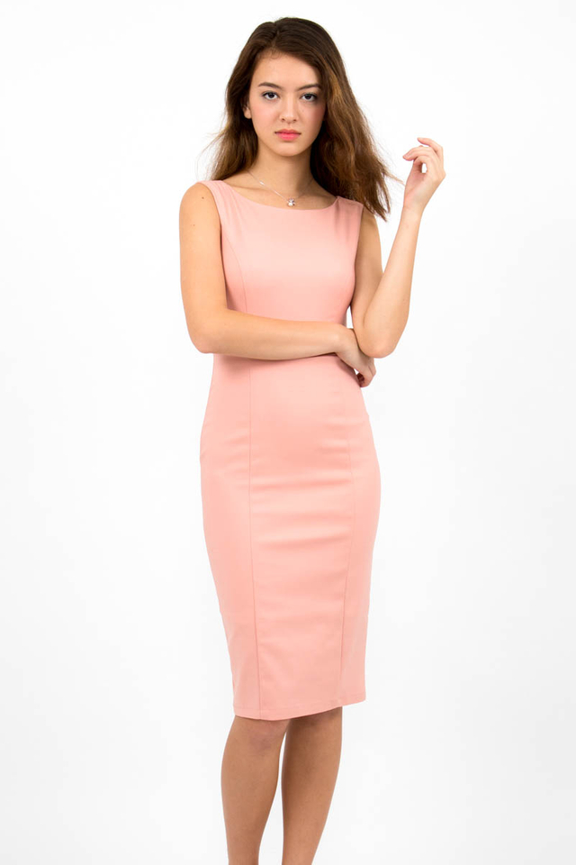Audrey Classic Boat Neck Midi Dress - Blush Pink