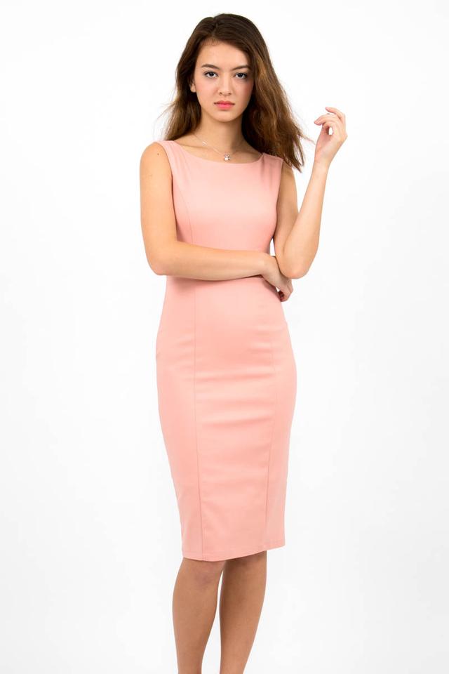 Audrey Classic Boat Neck Midi Dress - Blush Pink