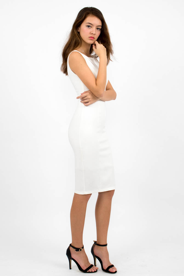 Audrey Classic Boat Neck Midi Dress - White