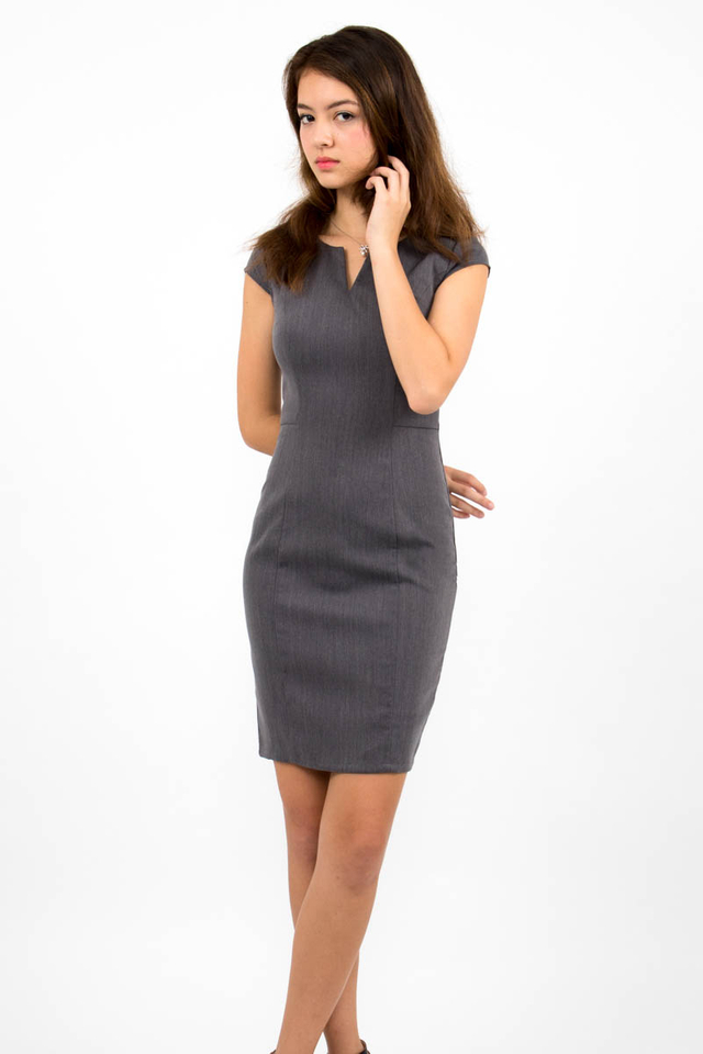 Zoë Top Notch Cap Sleeve Pencil Dress - Grey