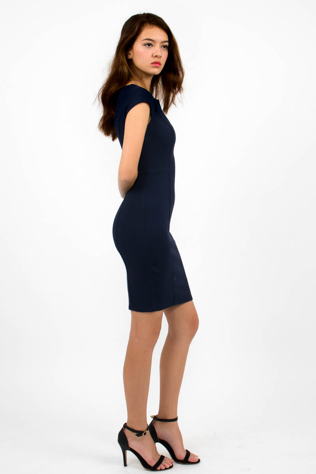 Zoë Top Notch Cap Sleeve Pencil Dress - Navy Blue