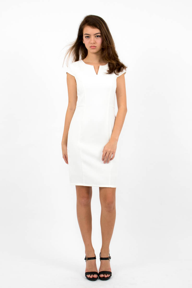 Zoë Top Notch Cap Sleeve Pencil Dress - White