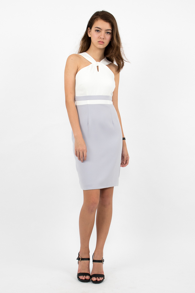 Stefano Twist Neck Pencil Dress - White/Lilac Grey