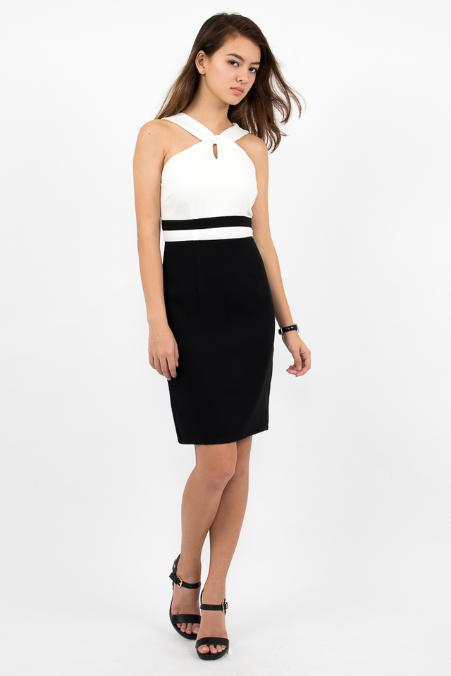 Stefano Twist Neck Pencil Dress - White/Black