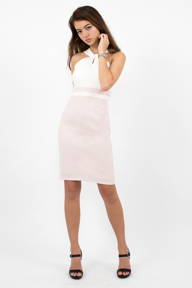 Stefano Twist Neck Pencil Dress - White/Blush Pink