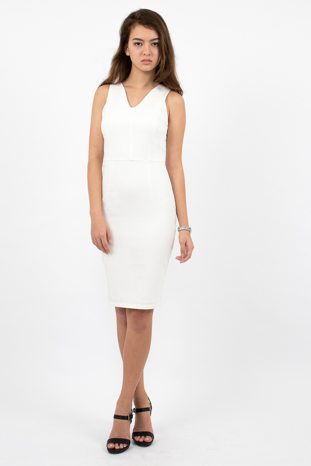 Devon Valley Neck Zipper Midi Dress - White