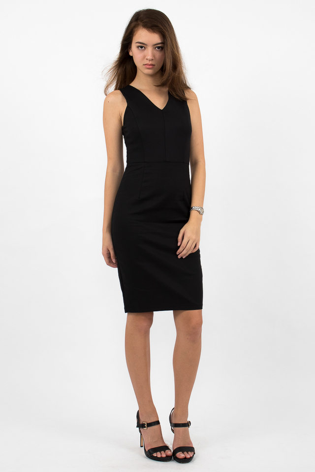Devon Valley Neck Zipper Midi Dress - Black