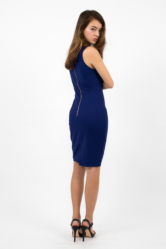 Devon Valley Neck Zipper Midi Dress - Electric Blue