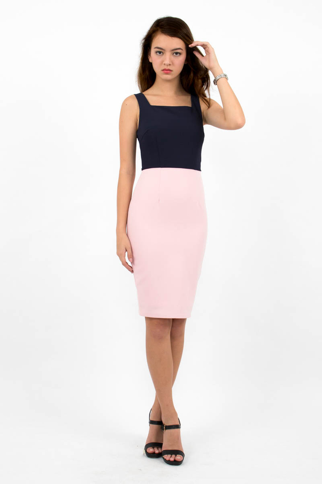Constance Colour Block Dress - Navy Blue/Pink