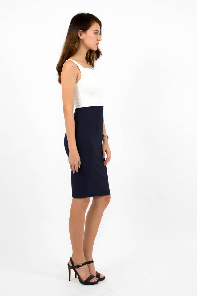 Constance Colour Block Dress - White/Navy Blue