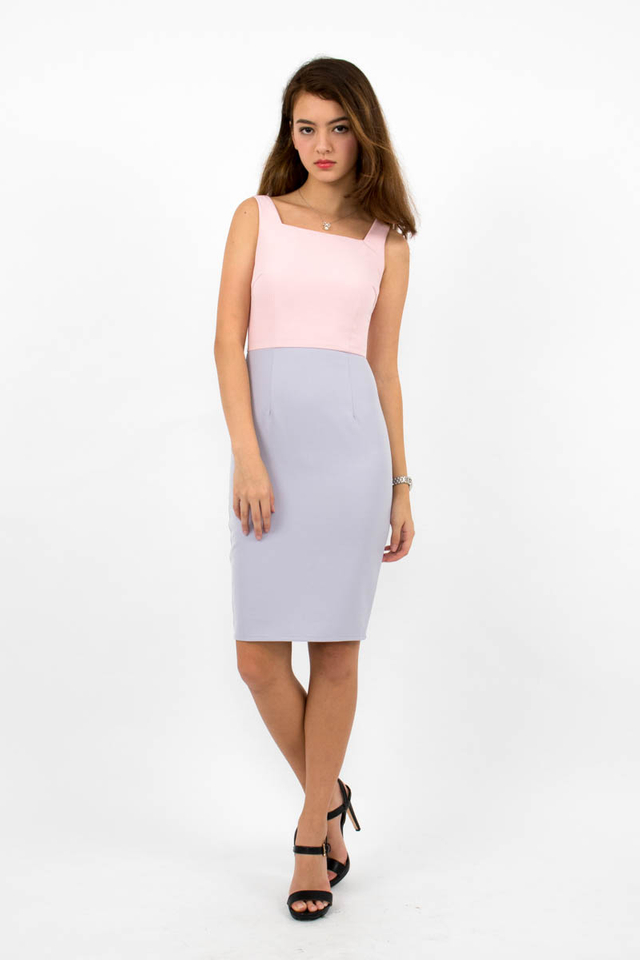 Constance Colour Block Dress - Pink/Lilac Grey