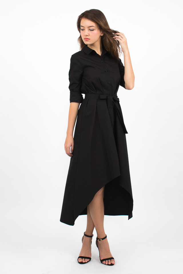 Esmeralda High-Lo Shirt Dress - Black