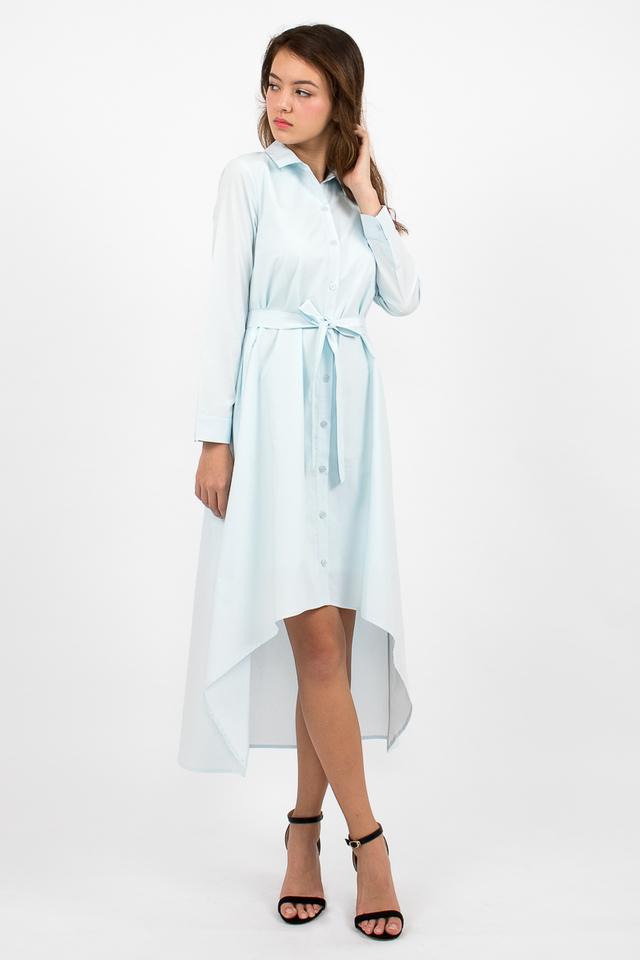Esmeralda High-Lo Shirt Dress - Cyan