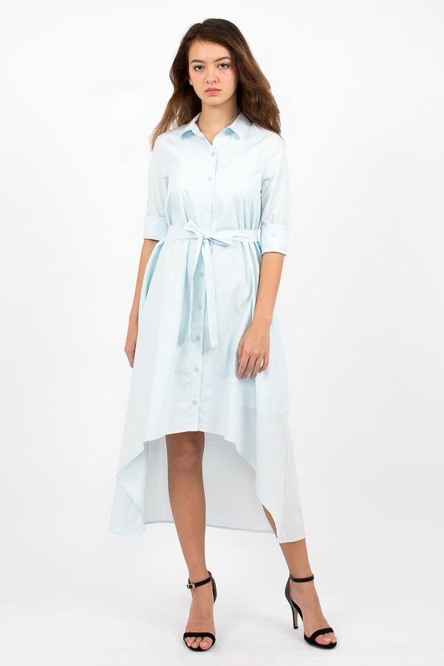 Esmeralda High-Lo Shirt Dress - Cyan