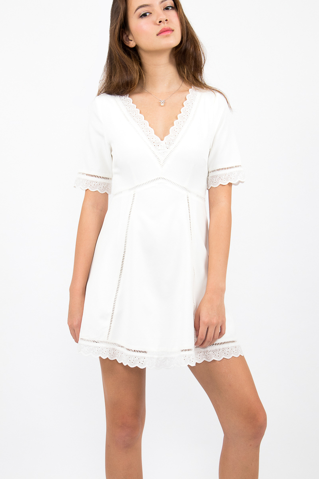 Bianca Boho A-Line Dress - White