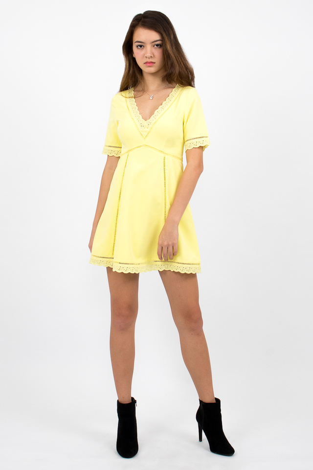 Bianca Boho A-Line Dress - Yellow