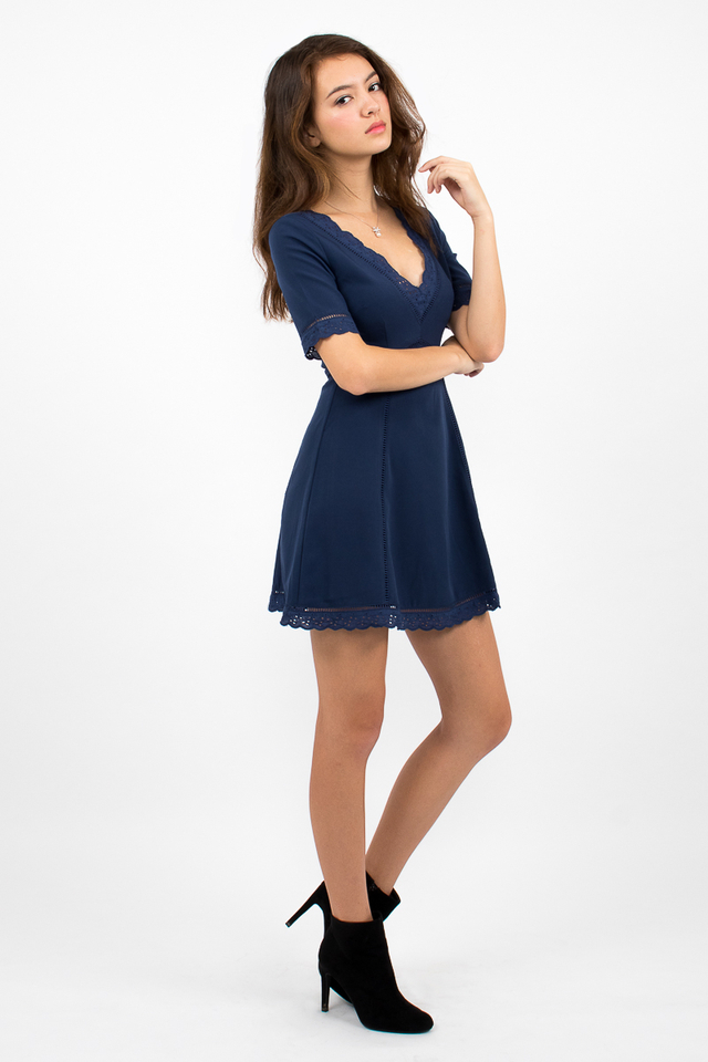 Bianca Boho A-Line Dress - Navy Blue