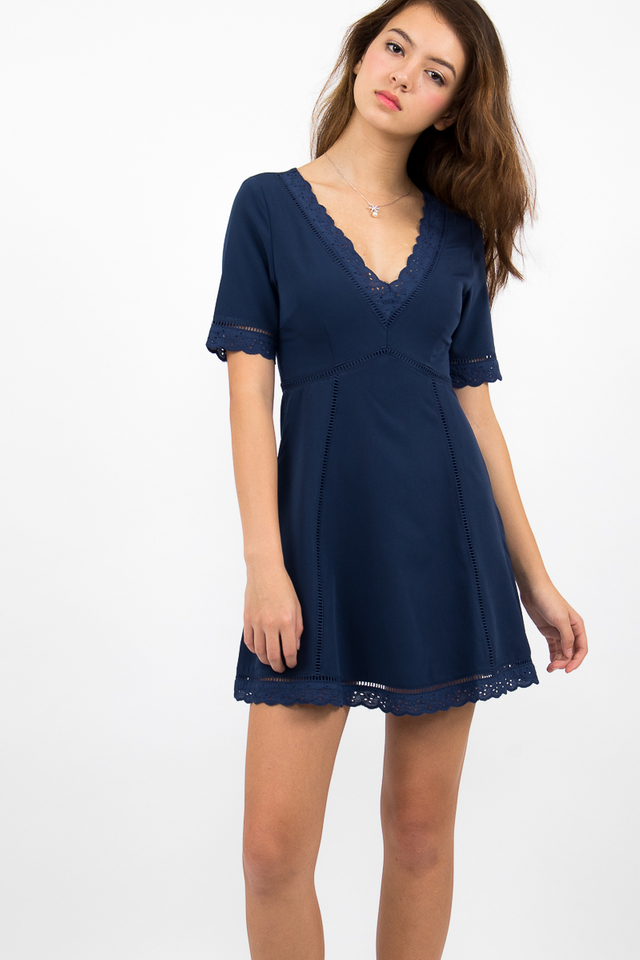 Bianca Boho A-Line Dress - Navy Blue