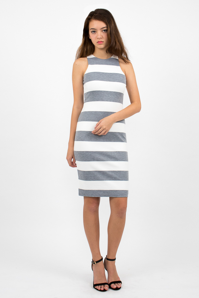 Lachlan Racerback Stripe Zipper Dress - White/Grey