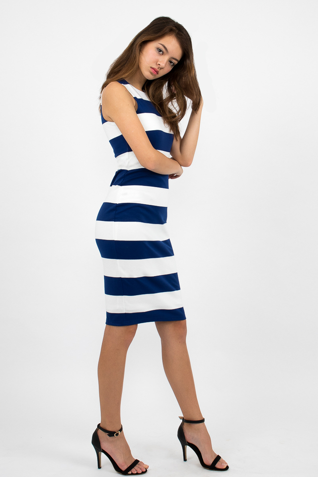 Lachlan Racerback Stripe Zipper Dress - White/Electric Blue