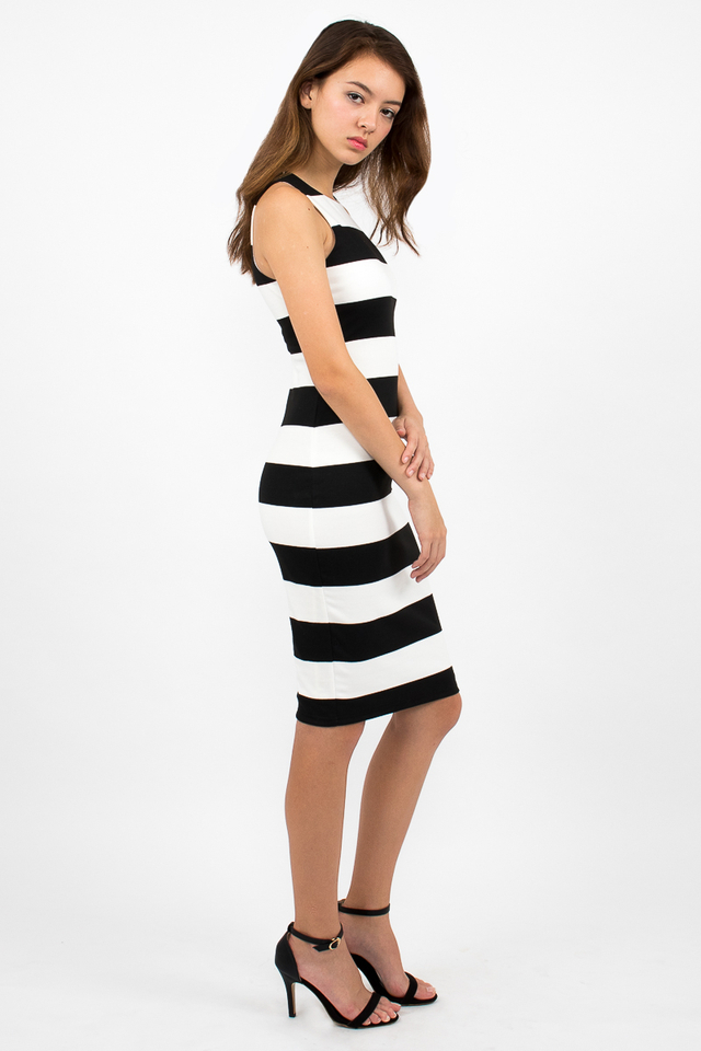 Lachlan Racerback Stripe Zipper Dress - White/Black