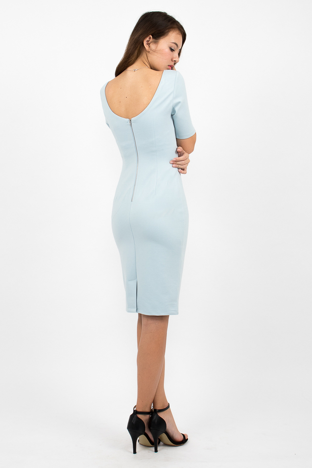 Izabel Scoop Back Zipper Midi Dress - Sky Blue