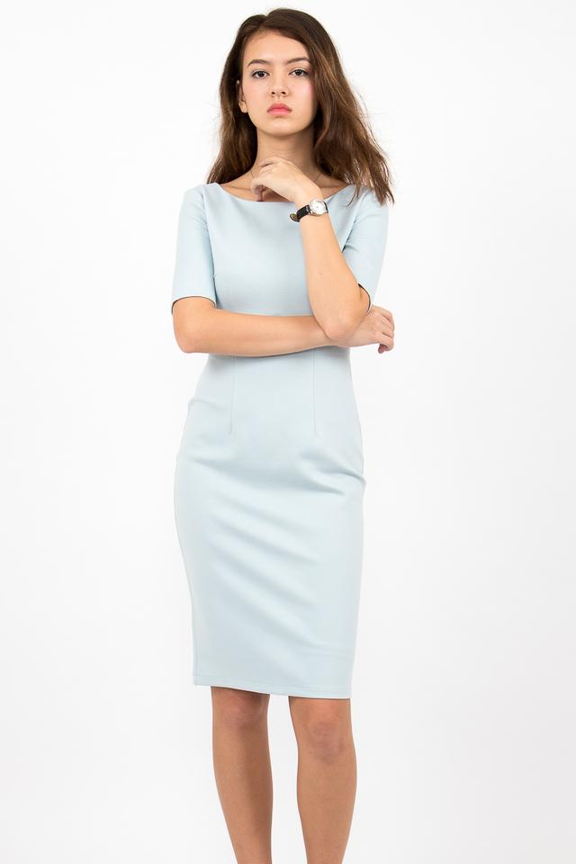 Izabel Scoop Back Zipper Midi Dress - Sky Blue
