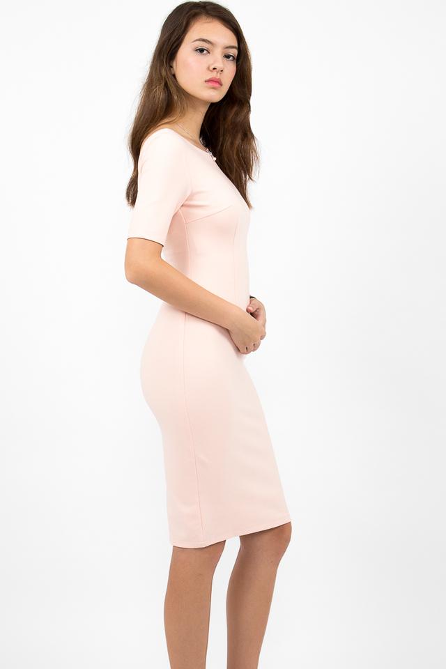 Izabel Scoop Back Zipper Midi Dress - Blush Pink