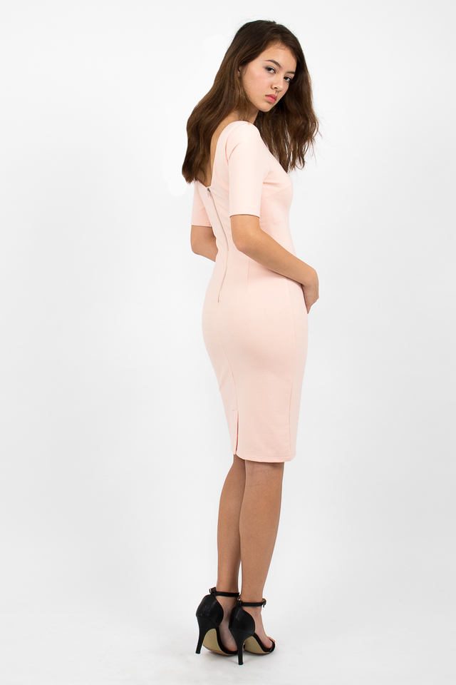 Izabel Scoop Back Zipper Midi Dress - Blush Pink