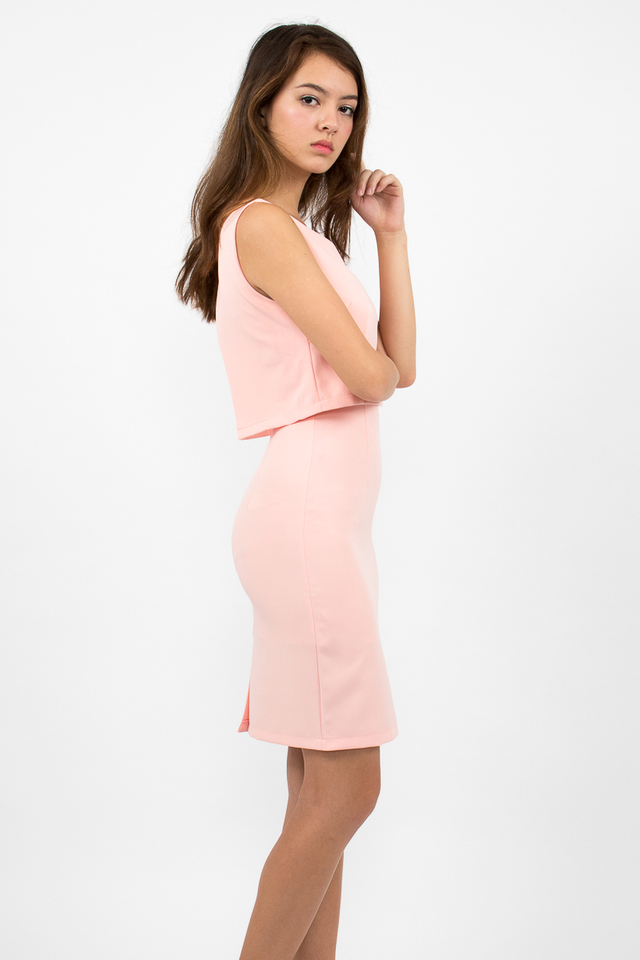 Tilda Crop Layered Dress - Pink