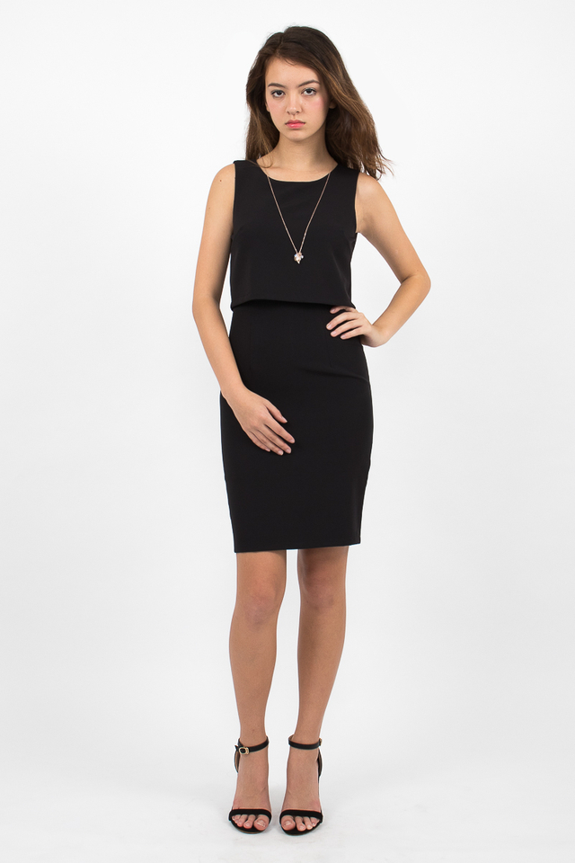 Tilda Crop Layered Dress - Black