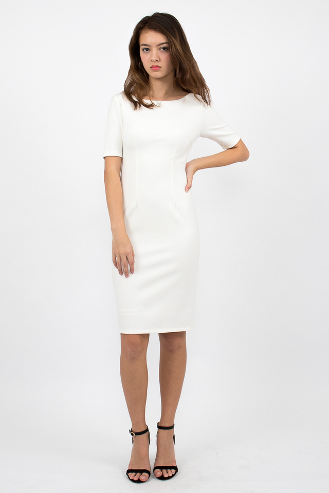 Izabel Scoop Back Zipper Midi Dress - White