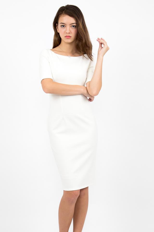 Izabel Scoop Back Zipper Midi Dress - White