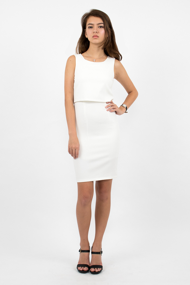 Tilda Crop Layered Dress - White