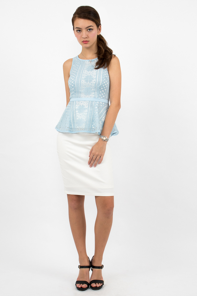 Rosie Lace Peplum Top - Sky Blue