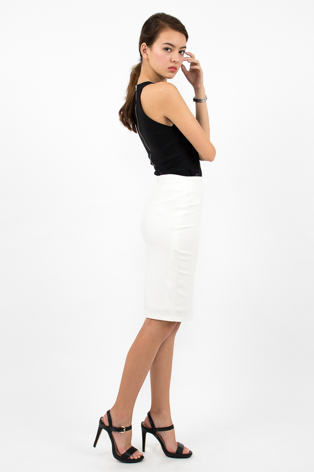 Céline High Waisted Pencil Skirt - White
