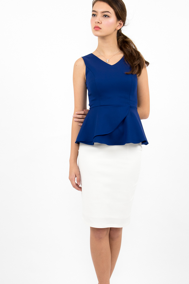 Suki Origami Wrap Peplum Top - Royal Blue