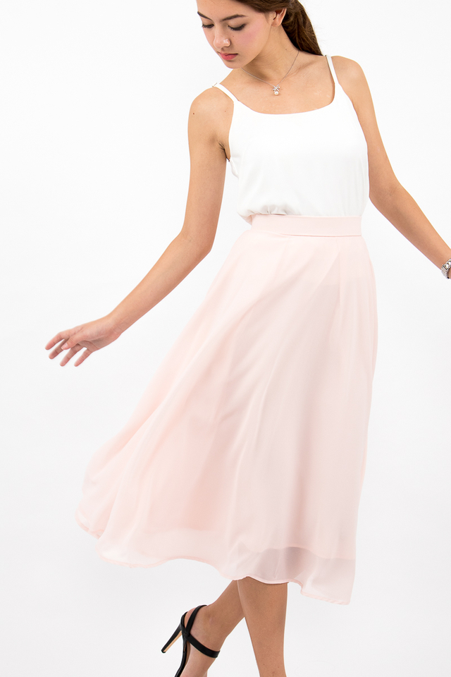 Dree Full Swing Chiffon Midi Skirt - Blush Pink