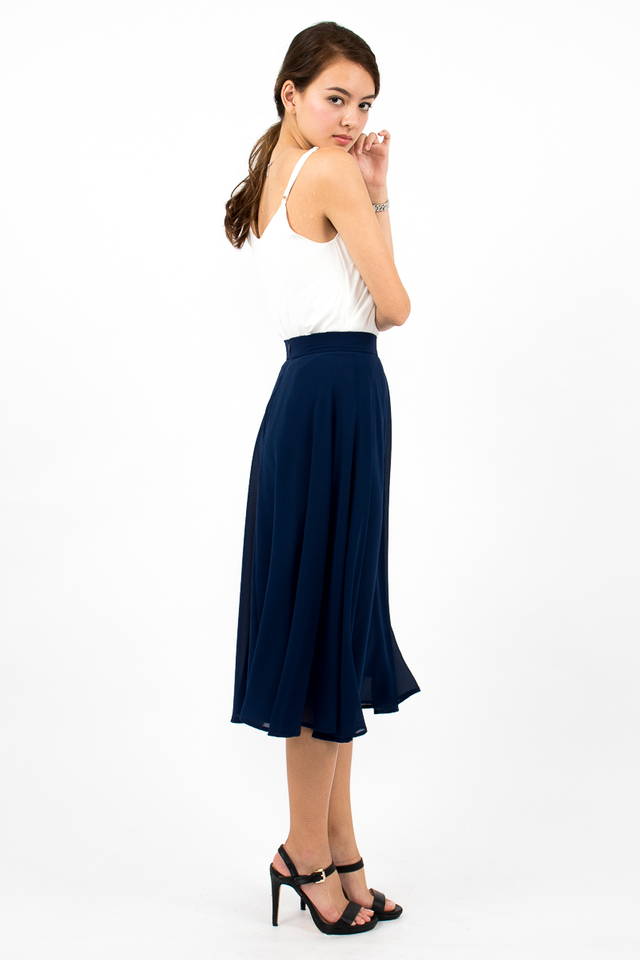 Dree Full Swing Chiffon Midi Skirt - Navy
